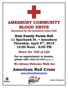 Amesbury Community Blood Drive Sponsored by Amesbury Lions Club @ Holy Family Parish Hall