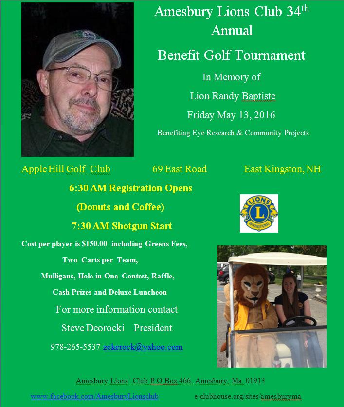 Amesbury Lions Club 34th Annual Benefit Golf Tournament in Memory of Lion Randy Baptiste @ Apple Hill Golf Club